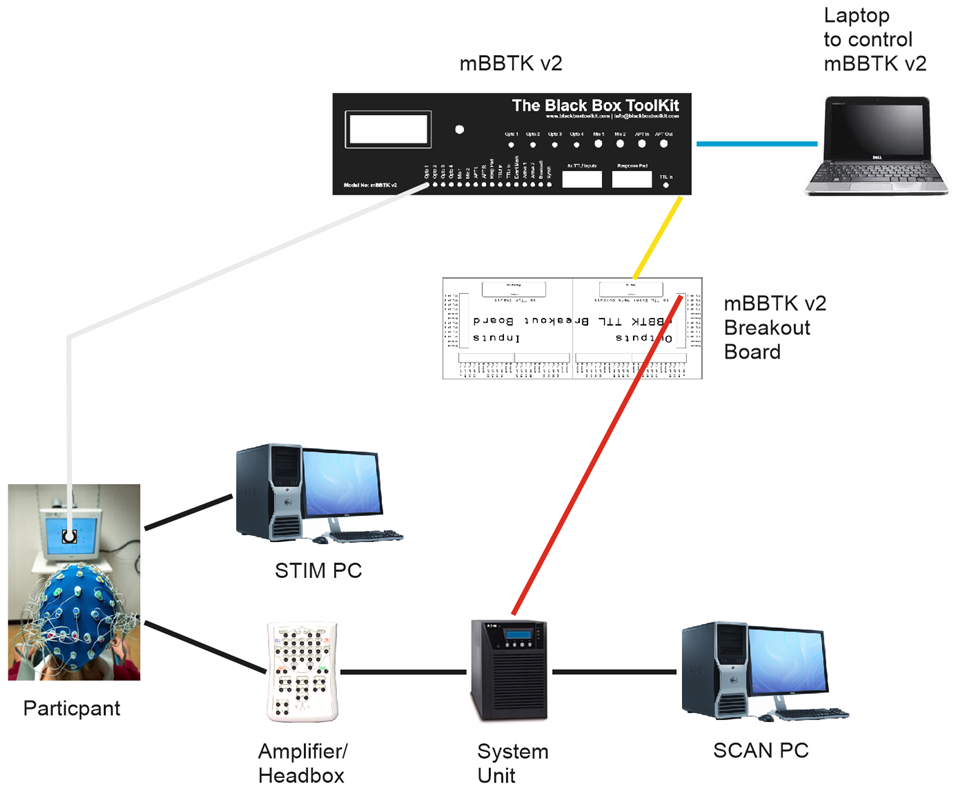 in this example the mbbtk v2 is controlled from a laptop via usb (blue)  in  the pc software the timestamp & event marking (tem) settings would look  similar
